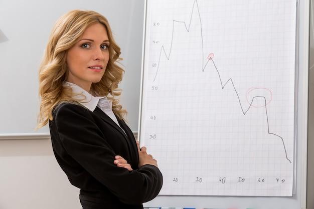 비즈니스 우먼은 프로젝트 성공적인 여성이 비즈니스 비즈니스 관리자를 가르칩니다.