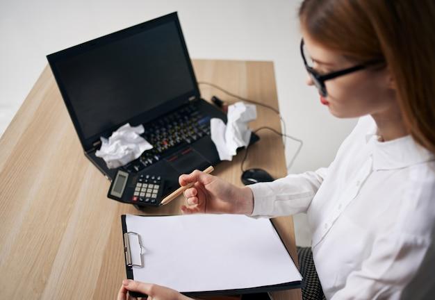 Business woman secretary working desk laptop office professionals