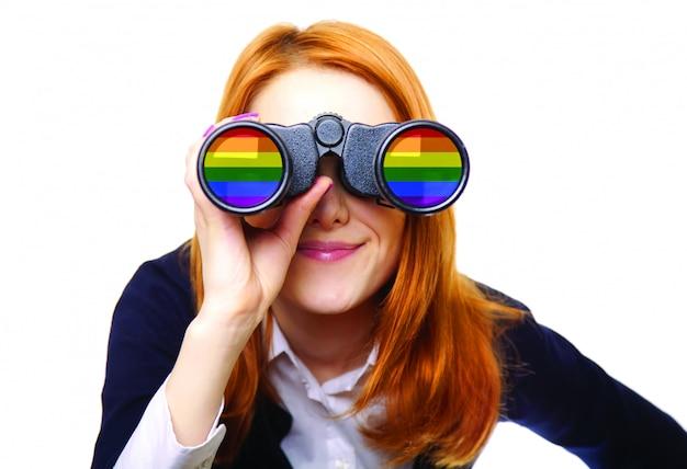 Business woman seeking with binocular. rainbow lgbt