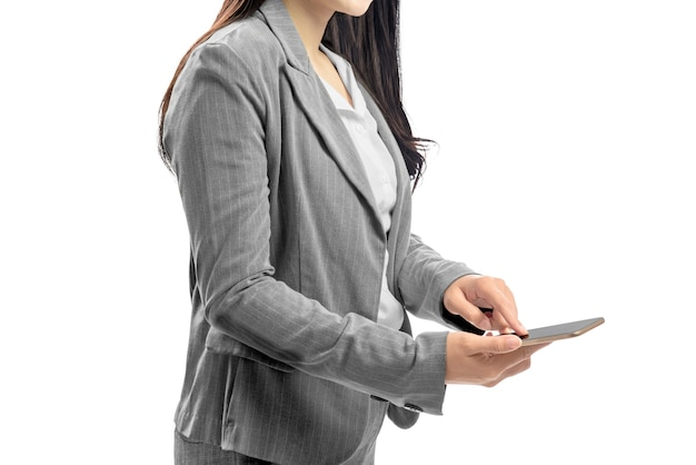 Business woman touch the mobile phone screen