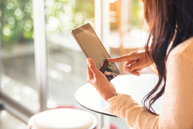 Business woman using smartphone shopping online, call, texting message internet technology lifestyle