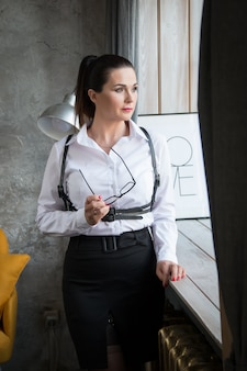 Business woman in a white blouse