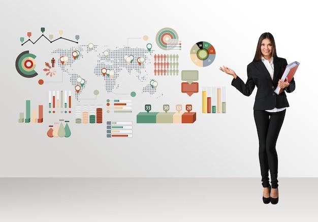 カラフルなグラフやチャートの概念を持つビジネスウーマン