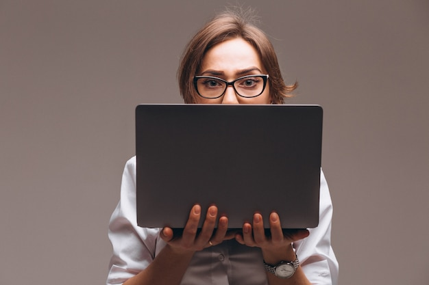 Business woman with computer isolated