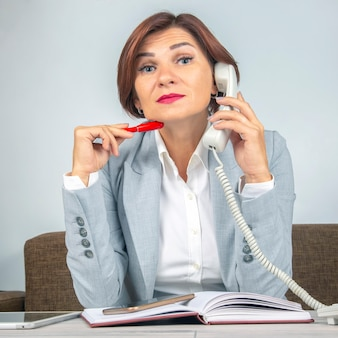 Business woman at work in the office. business qualities and career growth