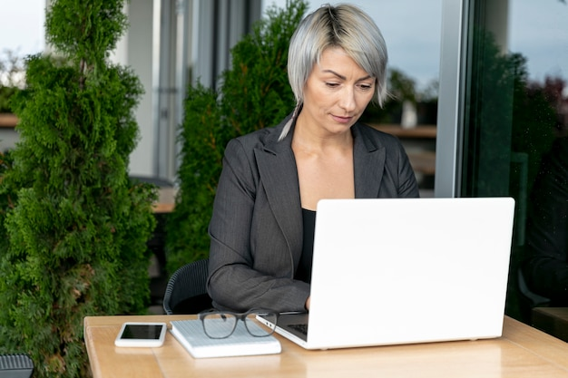 Business woman working outdoor