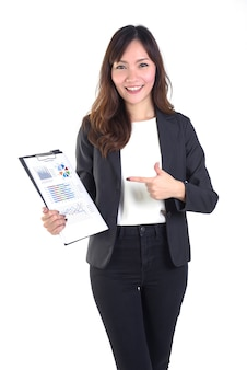 Business women in business suit holding black folder with paperwork.