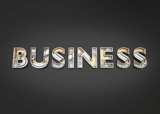 Business word made from mechanic alphabet. 3d illustration
