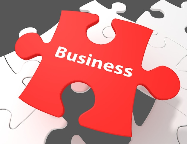 Business word on white puzzle pieces background
