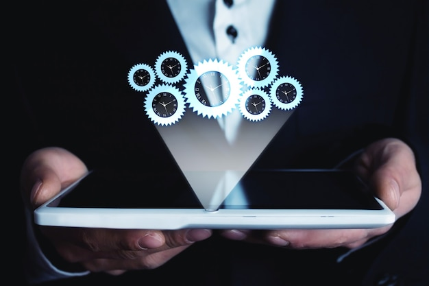 青色の背景にビジネス ワーキング メカニズム コンセプト