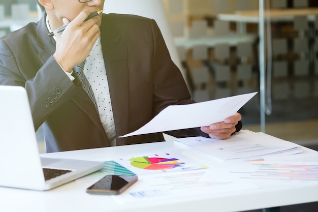 Businessman analyse the marketing data