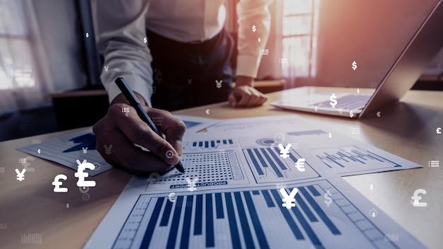 Businessman analyze conceptual data of stock market research.