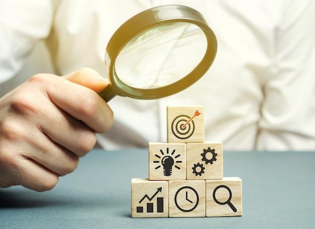 Businessman analyzes business strategy.