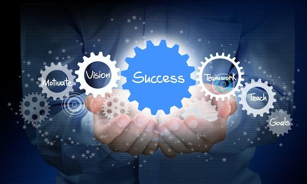 배경에 사업가 및 분석 기호