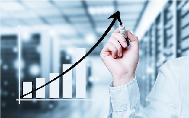 사업가와 성장하는 라인, 성장하는 기술을 상징