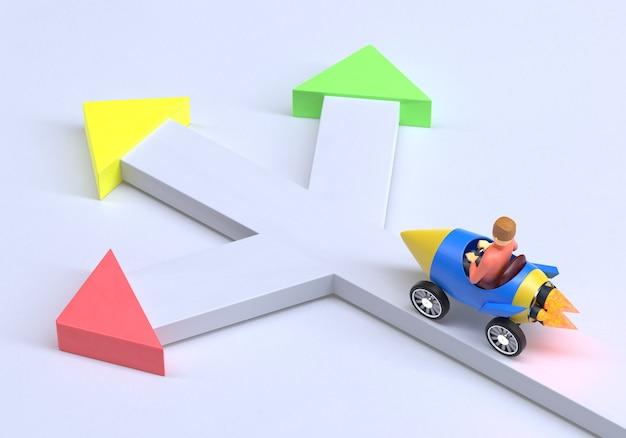岐路に立つビジネスマンは、3dレンダリングで3つの異なる選択肢を正しく決定する必要があります