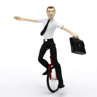 Бизнесмен балансирует на одноколесном велосипеде