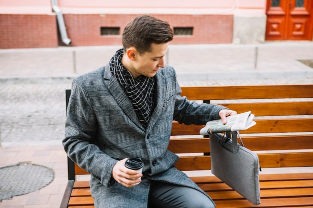 Businessman on a bench