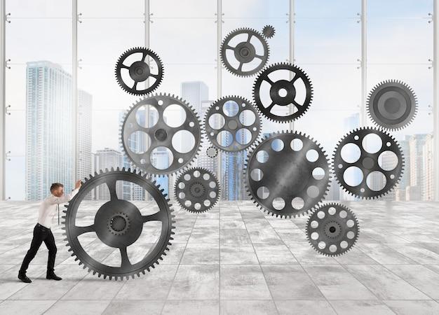 ビジネスマンはギアメカニズムとしてビジネスシステムを構築します