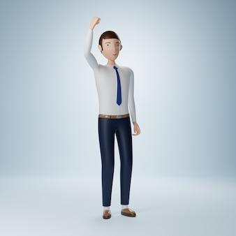 Бизнесмен мультипликационный персонаж развеселить позу изолированные