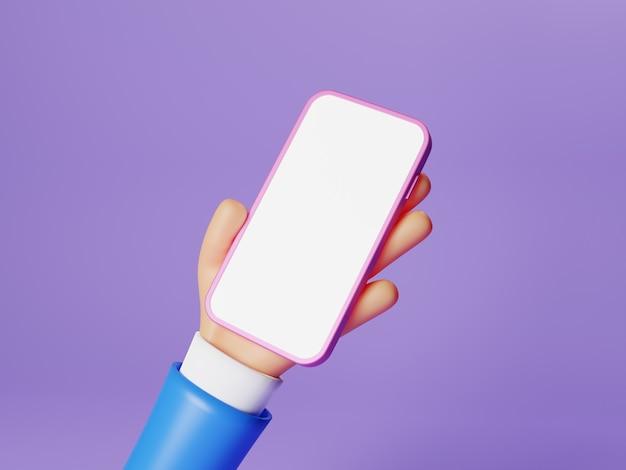 Бизнесмен мультипликационный персонаж рука смартфон с белым изолированным дисплеем экрана на фиолетовом фоне. рука человека, используя макет мобильного телефона. минимальная бизнес-концепция. визуализация 3d-иллюстраций