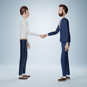 Бизнесмен мультипликационный персонаж, пожимая руки изолированные