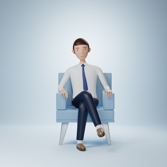 Businessman cartoon character sits in an armchair isolated