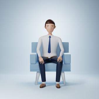 Бизнесмен мультипликационный персонаж сидит в изолированном кресле