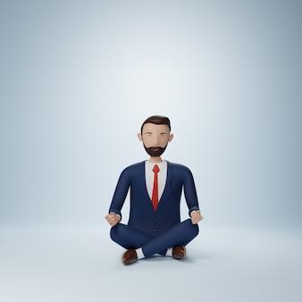 分離されたヨガのポーズに座っているビジネスマンの漫画のキャラクター