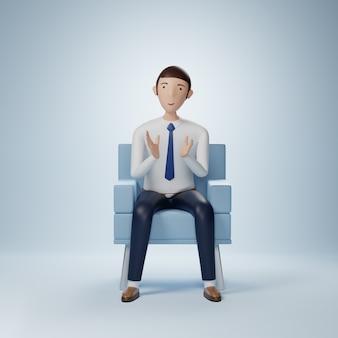 Бизнесмен мультипликационный персонаж сидит с хлопком изолированные