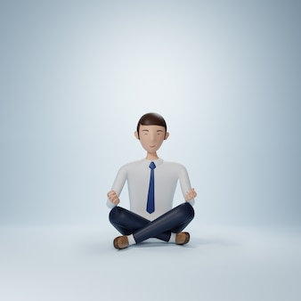 Businessman cartoon character sitting in yoga pose isolated