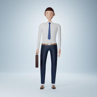 Бизнесмен мультипликационный персонаж, стоящий и держащий изолированный портфель