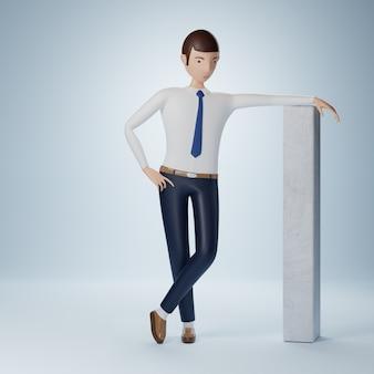 Бизнесмен мультипликационный персонаж стоя и думает позы изолированы