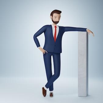 ビジネスマンの漫画のキャラクターに立って、分離された思考ポーズ