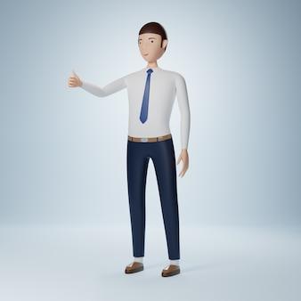 Бизнесмен мультипликационный персонаж стоя и пальцы вверх изолированные Premium Фотографии