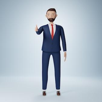 Бизнесмен мультипликационный персонаж стоя и пальцы вверх изолированные
