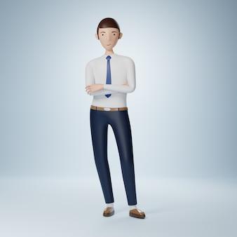 Бизнесмен мультипликационный персонаж, стоящий со скрещенными руками, позы изолированные