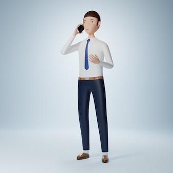 Бизнесмен мультипликационный персонаж с помощью телефона изолирован