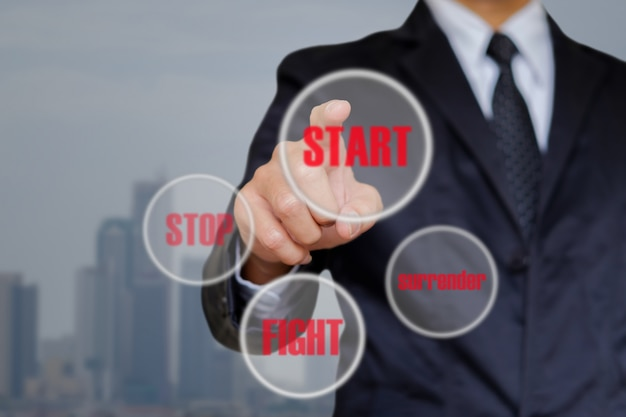 Businessman choose start.