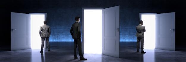 Бизнесмен, выбирая правильную дверь 3d-рендеринга