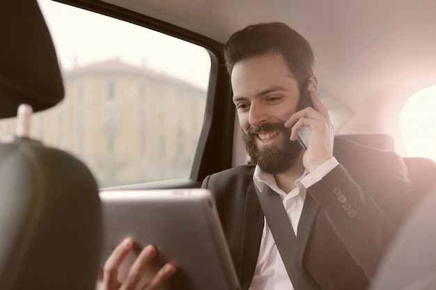 Businessman communication on the way