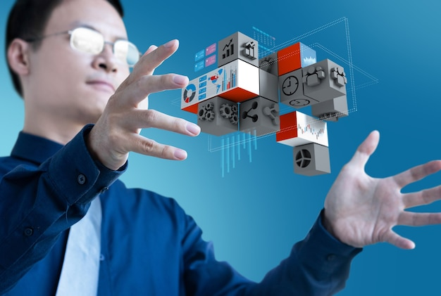 Бизнесмен контроля управления 3d значок бизнеса для исследовательских данных Premium Фотографии