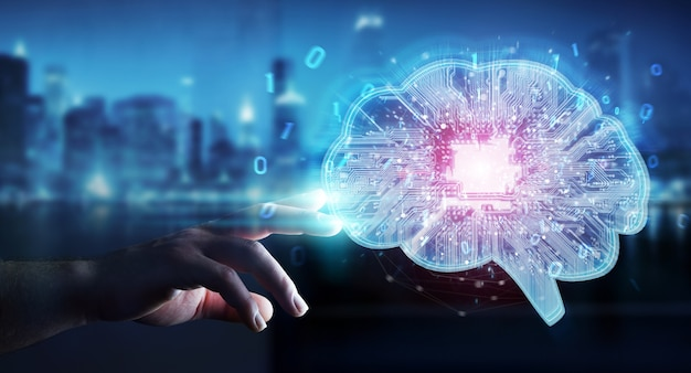Businessman creating artificial intelligence in a digital brain