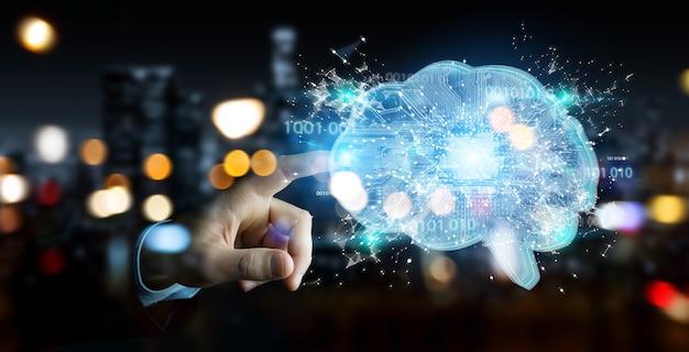 Бизнесмен, создающий искусственный интеллект в цифровом мозге