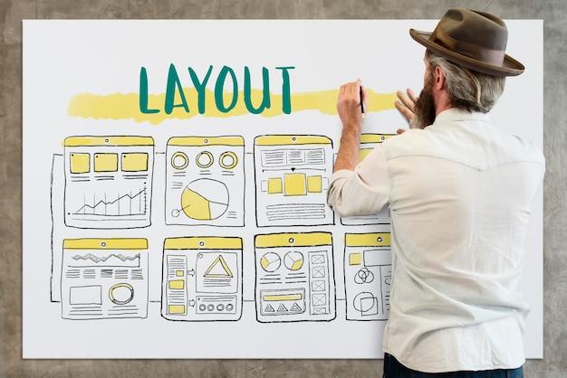 Businessman designing layout