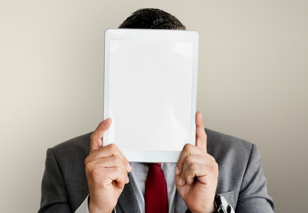 Businessman digital tablet face covered copy space technology concept