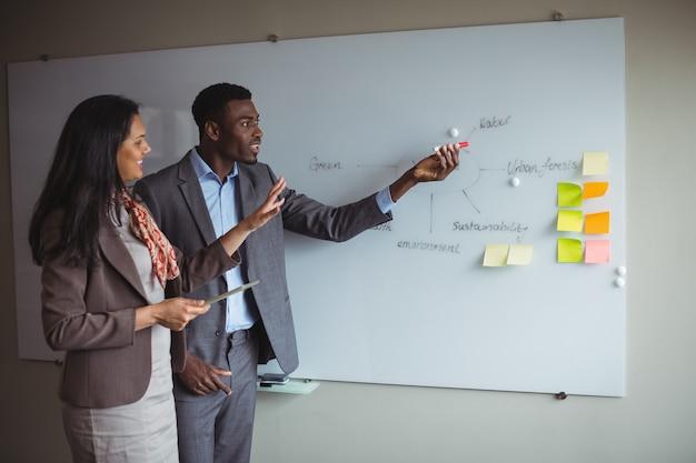 同僚とホワイトボードで議論する実業家