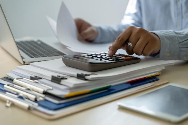 Businessman documents business report papers, job succes analyze document plans