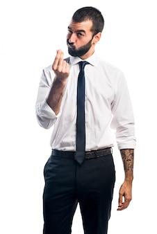 Бизнесмен делает денежный жест
