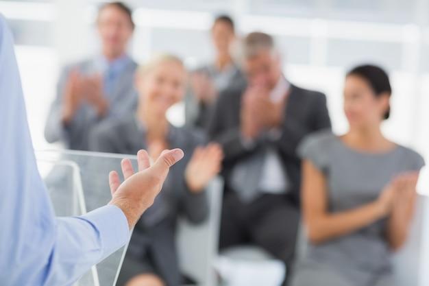 Businessman doing conference presentation